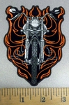 4111 N - Flamin' Motorcycle - Embroidery Patch
