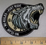 4220 CP - No Club - No Rules - Just Ride - With Howling Wolf - Embroidery Patch