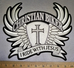 4240 CP - I Ride With Jesus Banner - Cross Shield With Angel Wings - Back Patch - Embroidery Patch