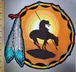 4245 CP - Dreamcatcher With Indian Rider And Horse - Two Feathers - Extra Large Back Patch - Embroidery Patch