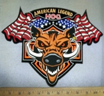 4253 CP - American Legend HOG - Two American Flags - Hog - Back Patch - Embroidery Patch
