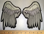 4371 CP - Set Of Gray Angel Wings - Back Patch - Embroidery Patch