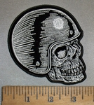 4383 G - Helmet Wearing Skull Face - Right Side - Embroidery Patch