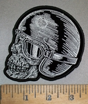 4386 G - Helmet Wearing - Riding Goggle Skull Face - Left Side - Embroidery Patch
