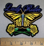 4389 CP- Lady Rider With Yellow Butterfly And Yellow Roses - Embroidery Patch