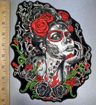 4528 G - Sugar Woman With Red Roses - Back Patch - Embroidery Patch