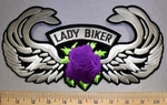 4548 S - Lady Rider With Angel Wings - Purple Rose - Back Patch