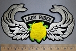 4549 S - Lady Rider With Angel Wings - Yellow Rose - Back Patch - Embroidery Patch