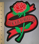 4551 R - Single Red Rose With Biker Forever Ribbon - Back Patch - Embroidery Patch