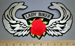 4553 S - Lady Rider With Angel Wings - Red Rose - Back Patch