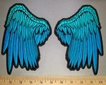 4555 CP - Set Of Blue Angel Wings - Embroidery Patch