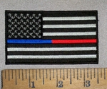 4701 CP - Black And White American Flag With Red And Blue Thin Line - Embroidery Patch