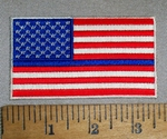 4702 CP - American Flag With Blue Thin Line - Embroidery Patch