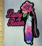 4731 CP - Lady Rider With Pink Rose And Multi Colored Feather - Back Patch - Embroidery Patch