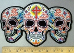 4787 CP - 3  White Sugar Skulls With Celtic Cross On Forehead - Back Patch - Embroidery Patch