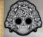 4798 G - Queen/Bride Skull With Rose Tatoo On Forehead - Back Patch - Embroidery Patch