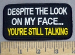 4880 S - Despite The Look On My Face...YOU'RE STILL TALKING - Embroidery Patch