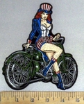 4904 G - American Pinup Biker Chick With Motorcycle - Embroidery Patch