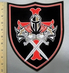 4942 CP - Knight Templar With Swords On Shield - Back Patch - Embroidery Patch