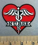 4972 G - Nurse With Medical Logo - Red Heart - Embroidery Patch