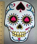 5114 CP - White Sugar Skull Face Decorated With Ace Of Spades - Back Patch - Embroidery Patch