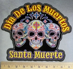 5117 CP - Dia De Los Muertos - Santa Muerte - Three Colorful Sugar Skull - Back Patch - Embroidery Patch