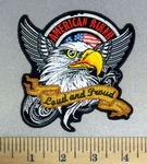 5182 CP - American Biker Bald Eagle - Angel Wings - Banner Loud And Proud - Embroidery Patch
