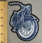 5189 G - Denim Blue Colored Motorcycle - Embroidery Patch