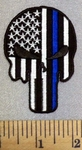 5252 CP - Thin Blue Line - Black And White American Flag - Punisher - Black Border - Embroidery Patch