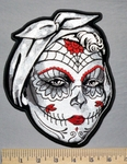 5329 G - Sugar Lady - Red Features On Face - Back Patch - Embroidery Patch