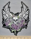 5334 G - Purple Flowers With Skull - Angel Wings - Back Patch - Embroidery Patch