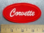 5615 l - Corvette - Red - Oval - Embroidery Patch