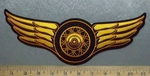 5634 CP - Golden Wings With Wheel - Embroidery Patch