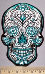 5704 G - Turquoise And Sliver Sugar Skull - Back Patch - Embroidery Patch