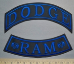 5758 L -  Top And Bottom Rocker Set - Dodge Ram - Blue - Embroidery Patch