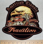 American Classic - Tradition - Eagle With Motorcycle - Back Patch - Embroidery Patch