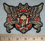 2663 G - American Tradition - Skullface With Wings - Embroidery Patch