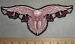 2727 G  Rhinestoned -Be - Dazzled Pink Open Wing Eagle With Shield - Back Patch - Embroidery Patch