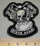2444 G - Biker Born With V- Twin Engines And Skullface - Embroidery Patch