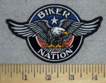 3276 G - Biker Nation - Blue With Eagle - Round - Embroidery Patch