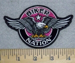 Biker Nation - Pink  With Eagle - Round - Embroidery Patch