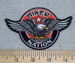 Biker Nation - Red  With Eagle - Round - Embroidery Patch