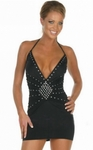 Black Halter Dress With Stud Design/Rally Wear - OS