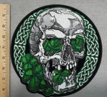 2860 G - Celtic Irish Skull  Face With Green 3 Leaf Clover - Round - Back Patch - Embroidery Patch