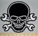 Bike Chain Skull Face With  Open Wrenches - Back Patch - Embroidery Patch