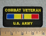 2792 W - Combat Veteran U.S. Army - With Combat Stripe - Embroidery Patch