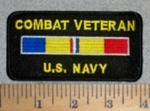 Combat Veteran U.S. Navy - With COmbat Stripe - Embroidery Patch