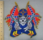 3418 N - Confederate Skullman With Confederate Flags And Guns - Back Patch - Embroidery Patch