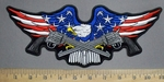633 G - American Flag - Bald Eagle With Two Pistols - Back Patch - Embroidery Patch