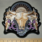 2322 G - Desert Skull Dream Catcher With eagles And V- Twin Engines- Back Patch - Embroidery Patch